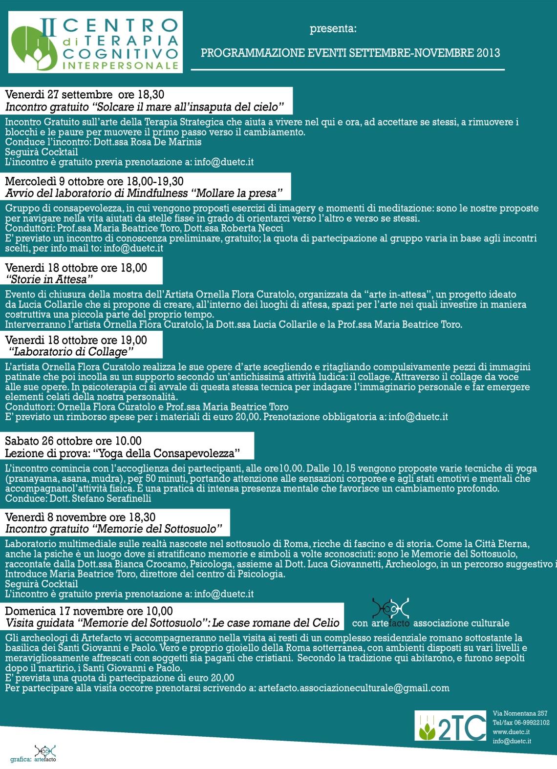 Programmazione eventi 2TC settembre-novembre